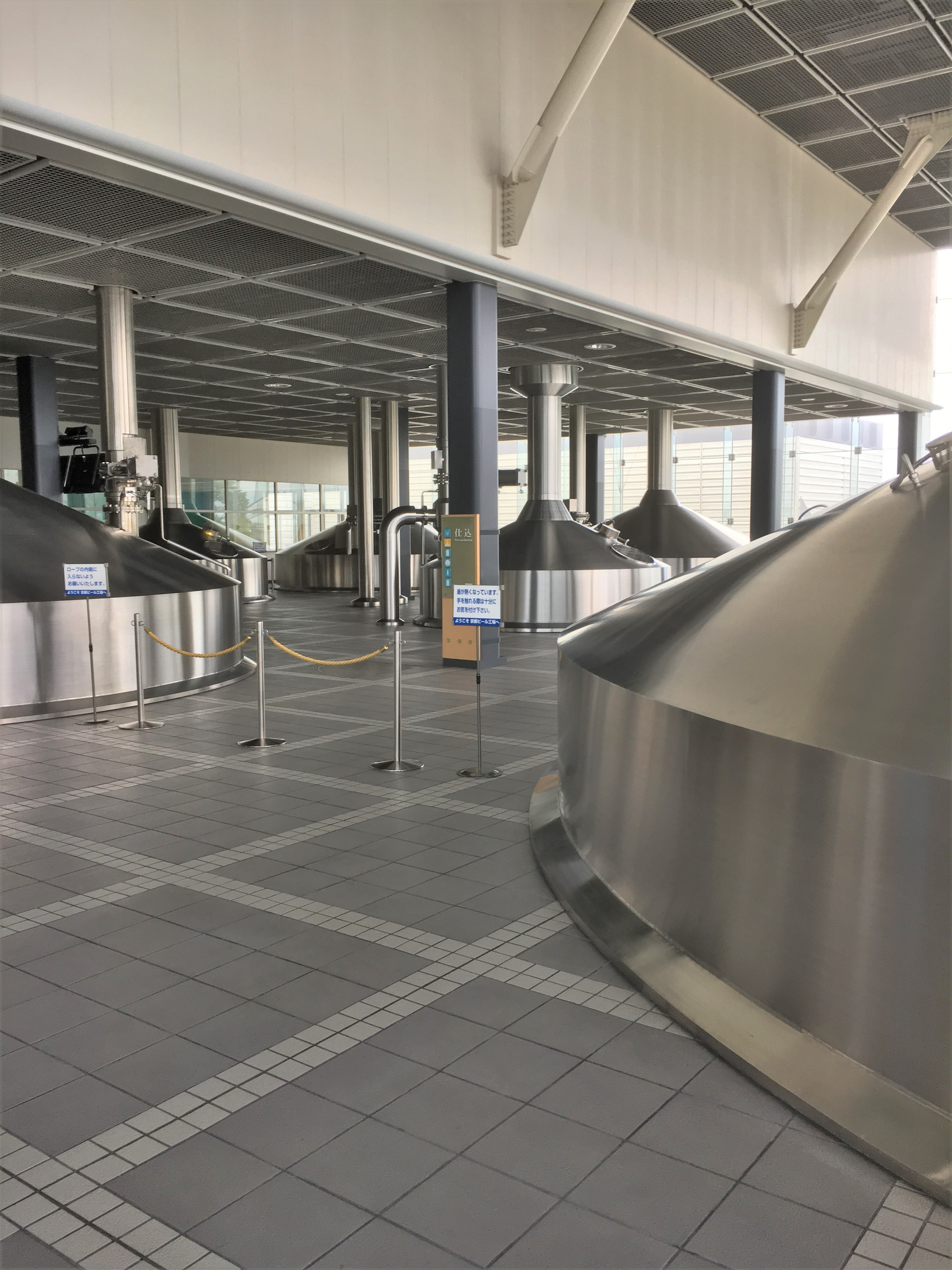 steel brewing tanks used at the Kyoto Suntory beer factory