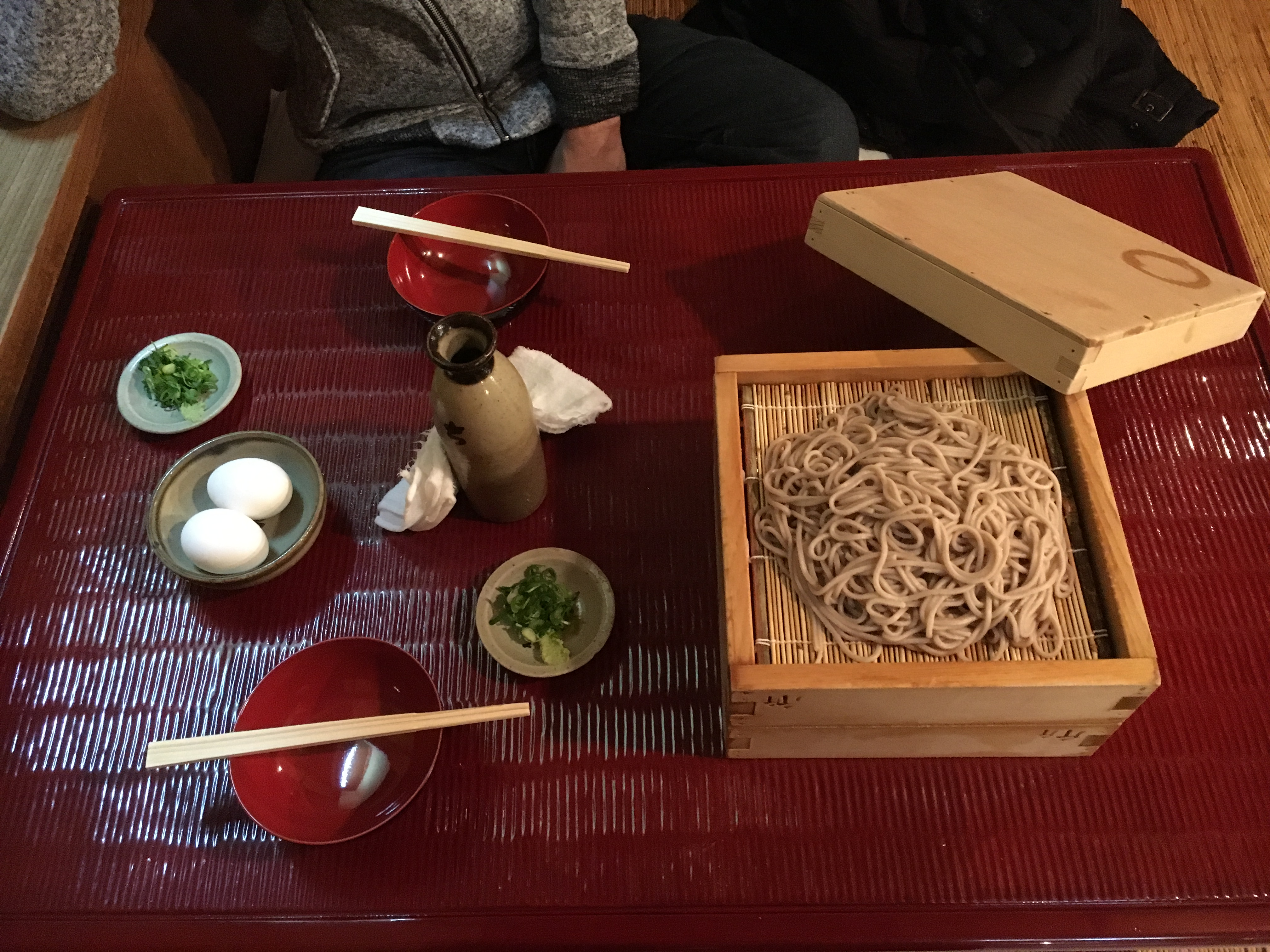 boxes containing steamed soba noodles at historic chikuma in sakai city