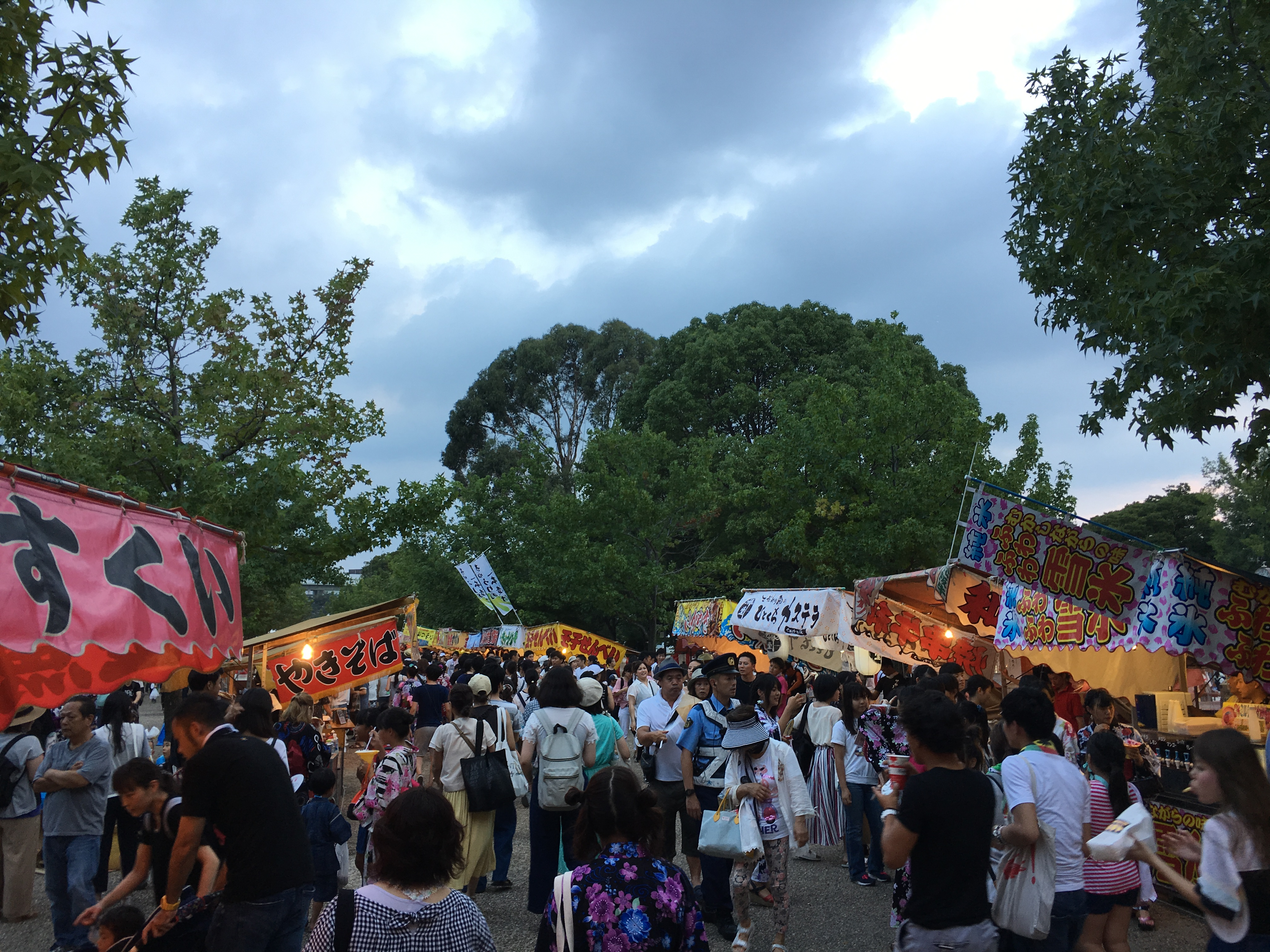 crowds at Japanese festivals and many colorful food stalls