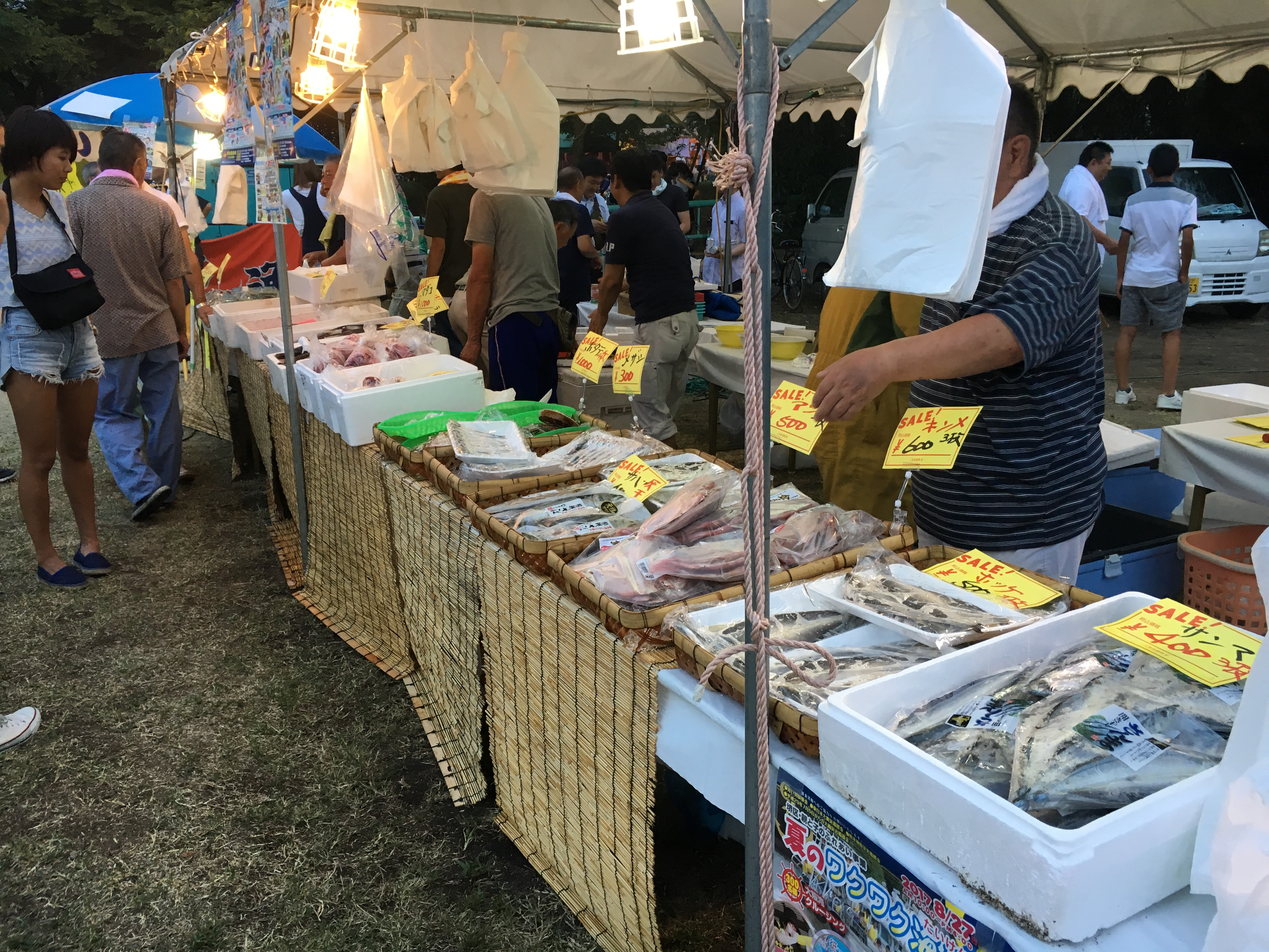rows of fish on ice and straw mats under tents