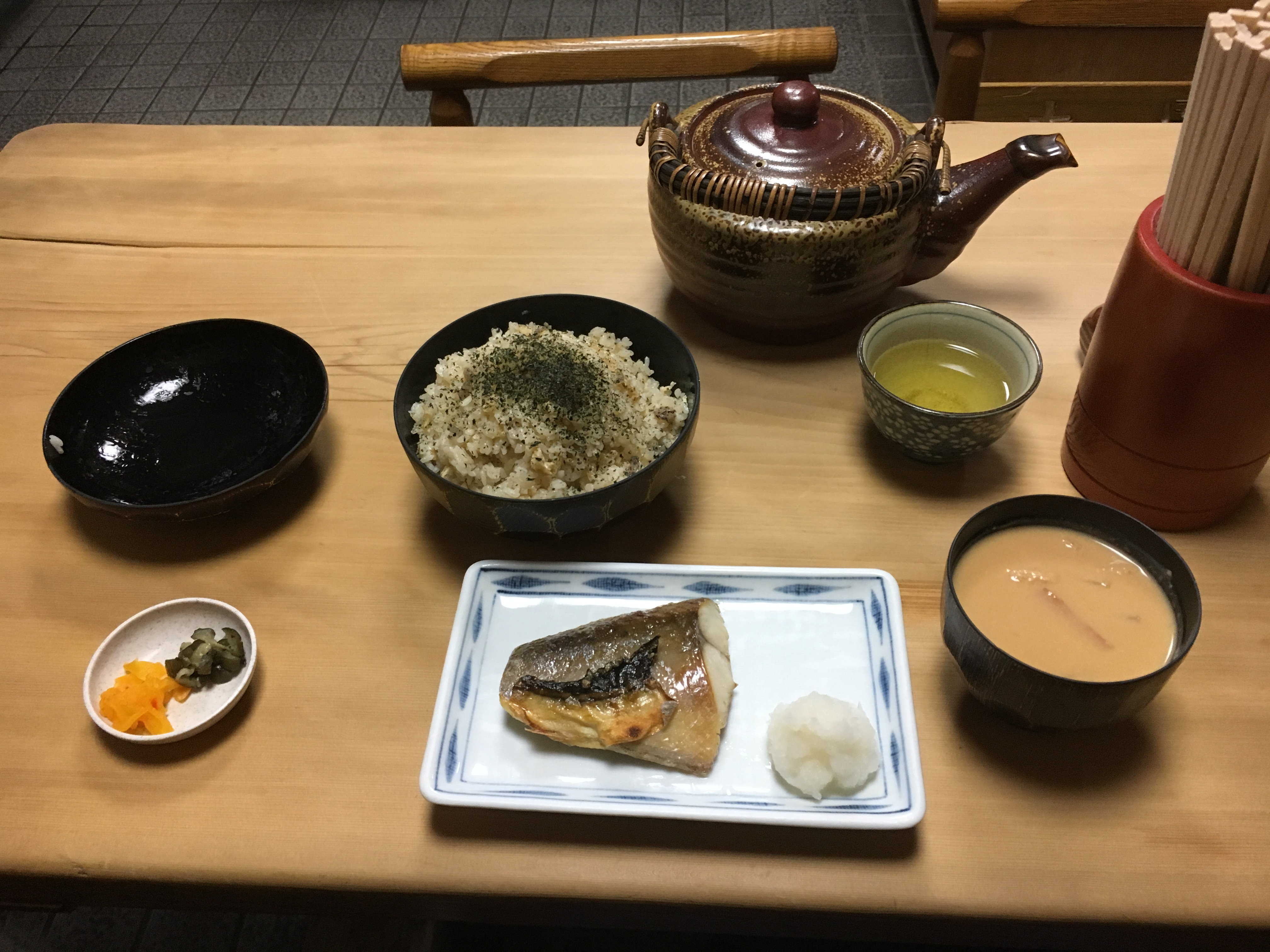 traditional Japanese meal of kayaku gohan, fish pickles and soup