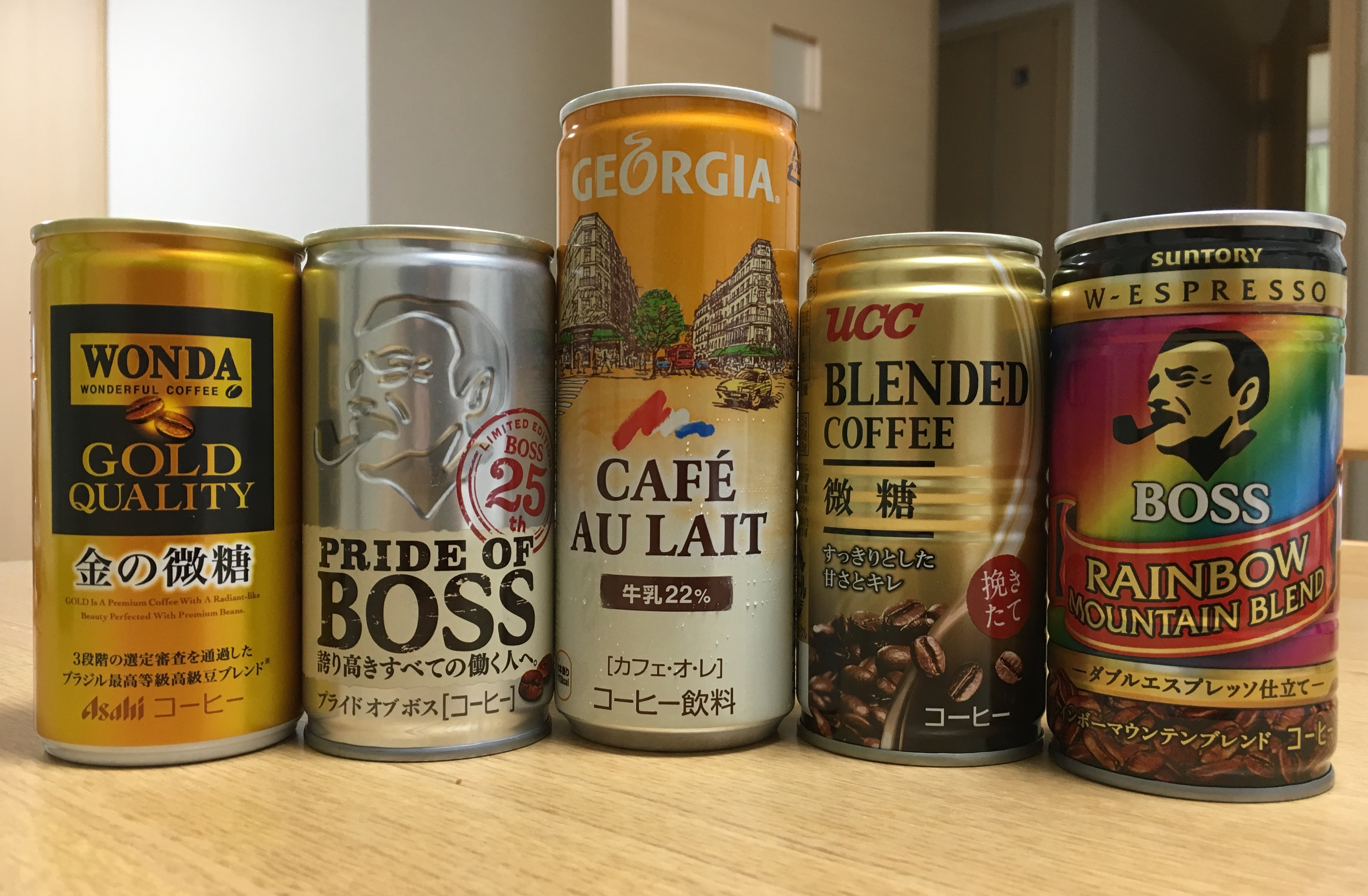 an array of some of the most popular brands of canned coffee in Japan