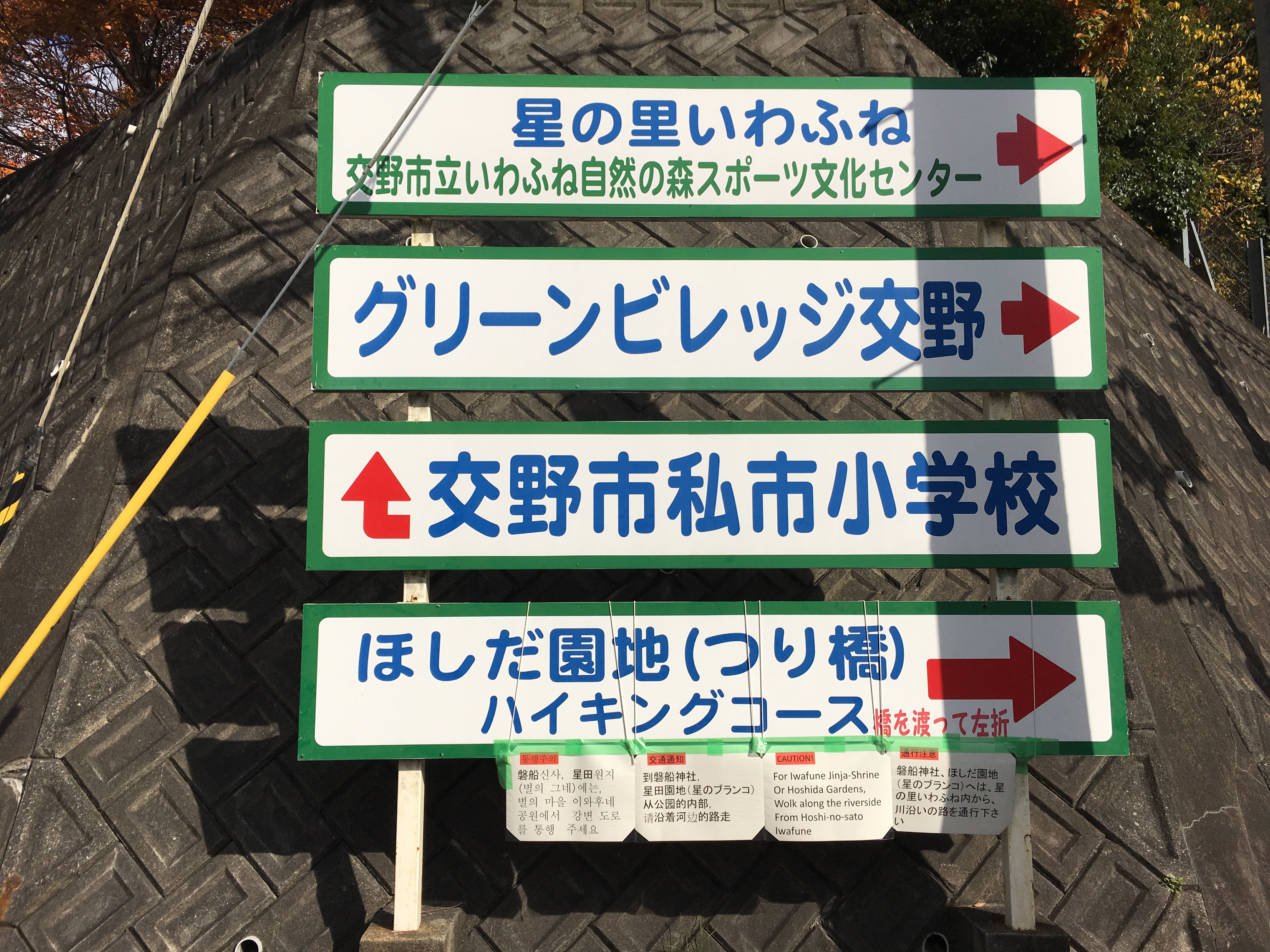 various directional signs indicating nearby activities