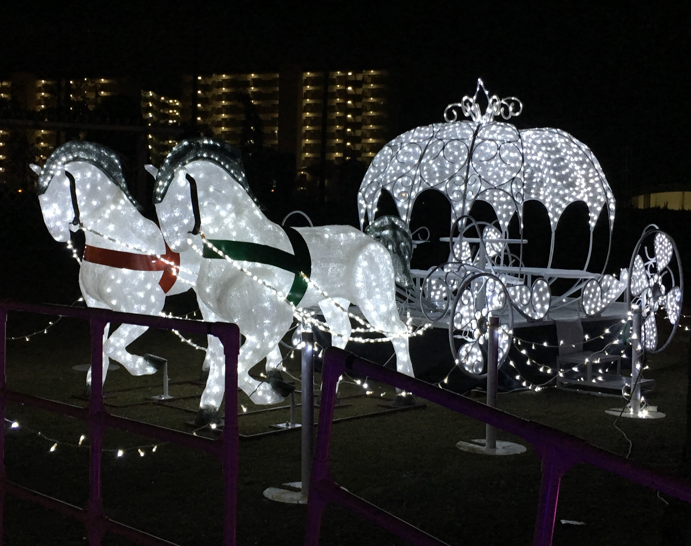 white illumination of a horse and carriage