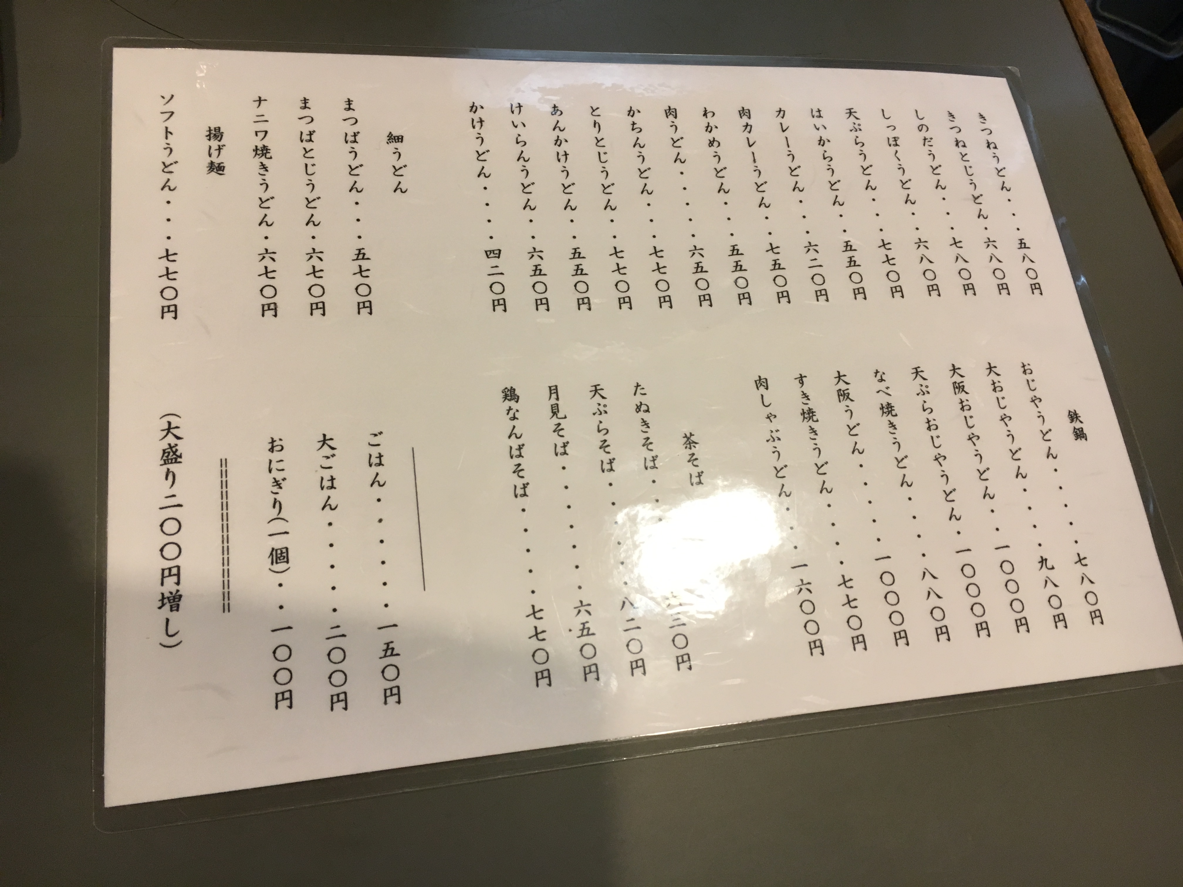 laminated restaurant menu written in Japanese with no pictures