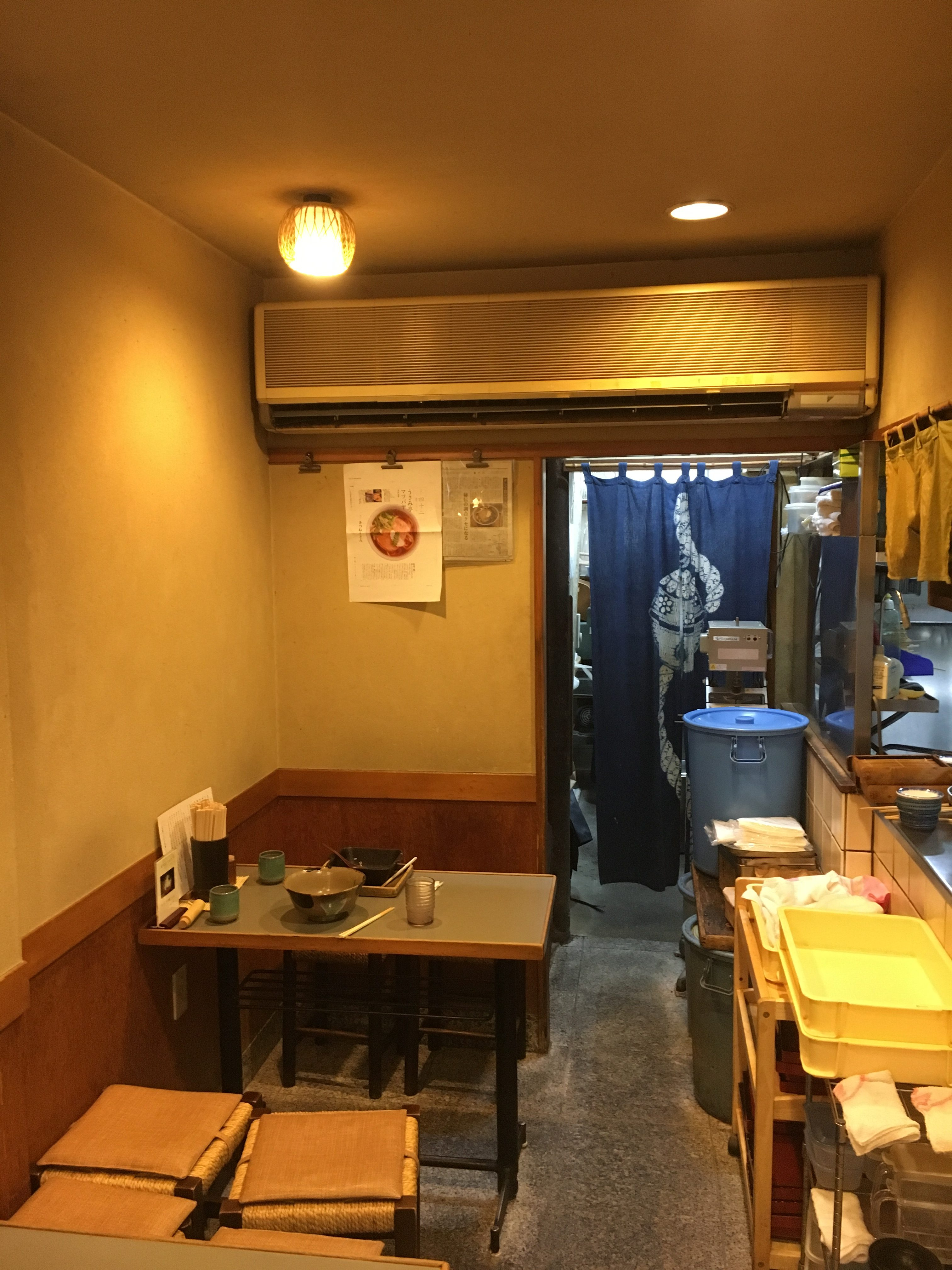 inside of Japanese udon restaurant very small with small seats and tables