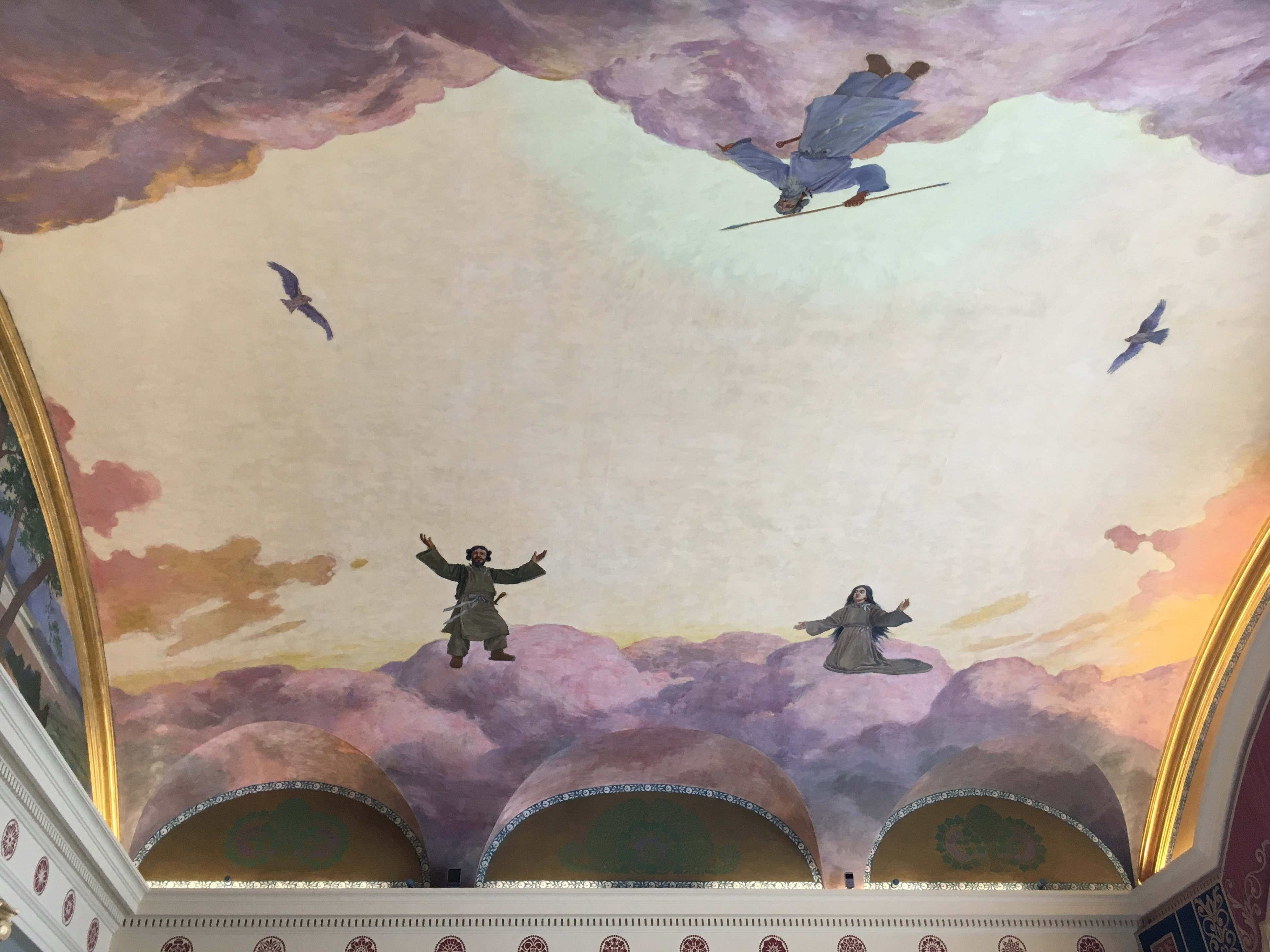 ceiling mural of the Japanese creation myth in whites and pastels