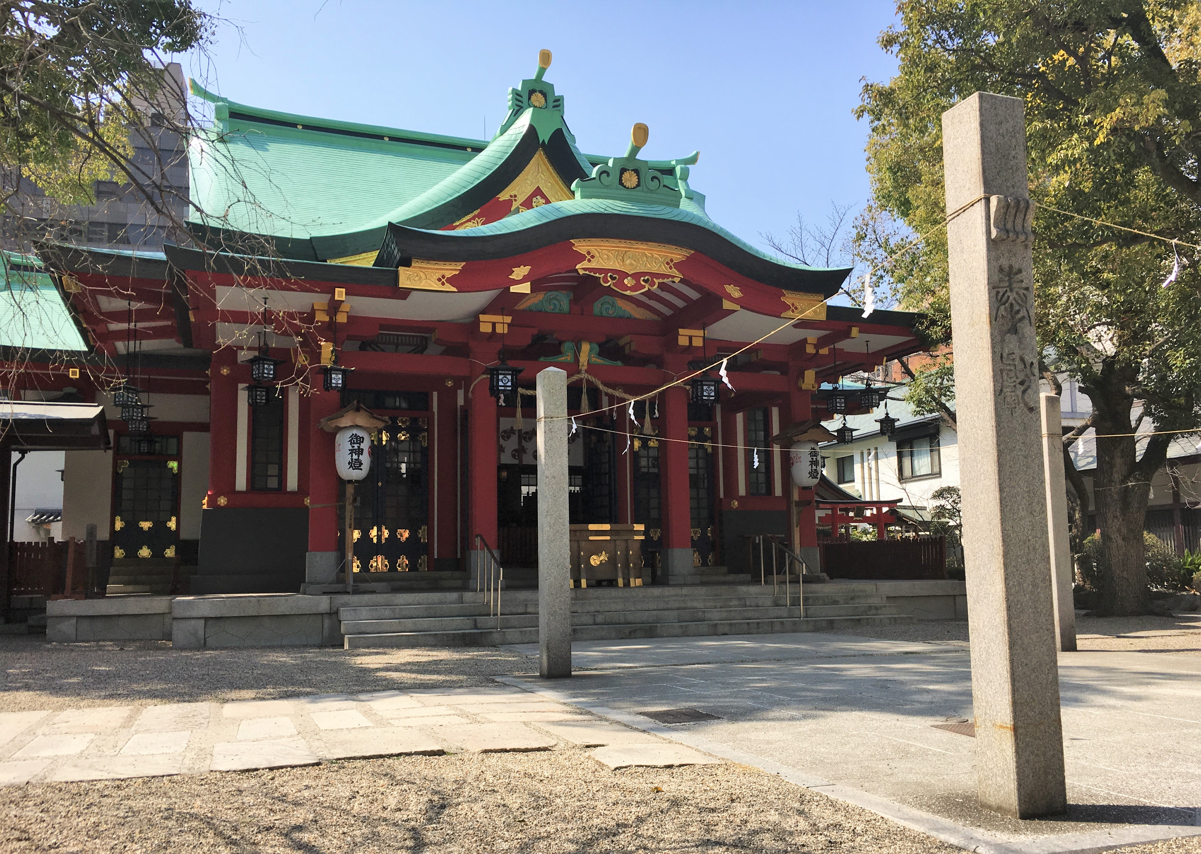Haiden of Goryo Shrine on a clear day