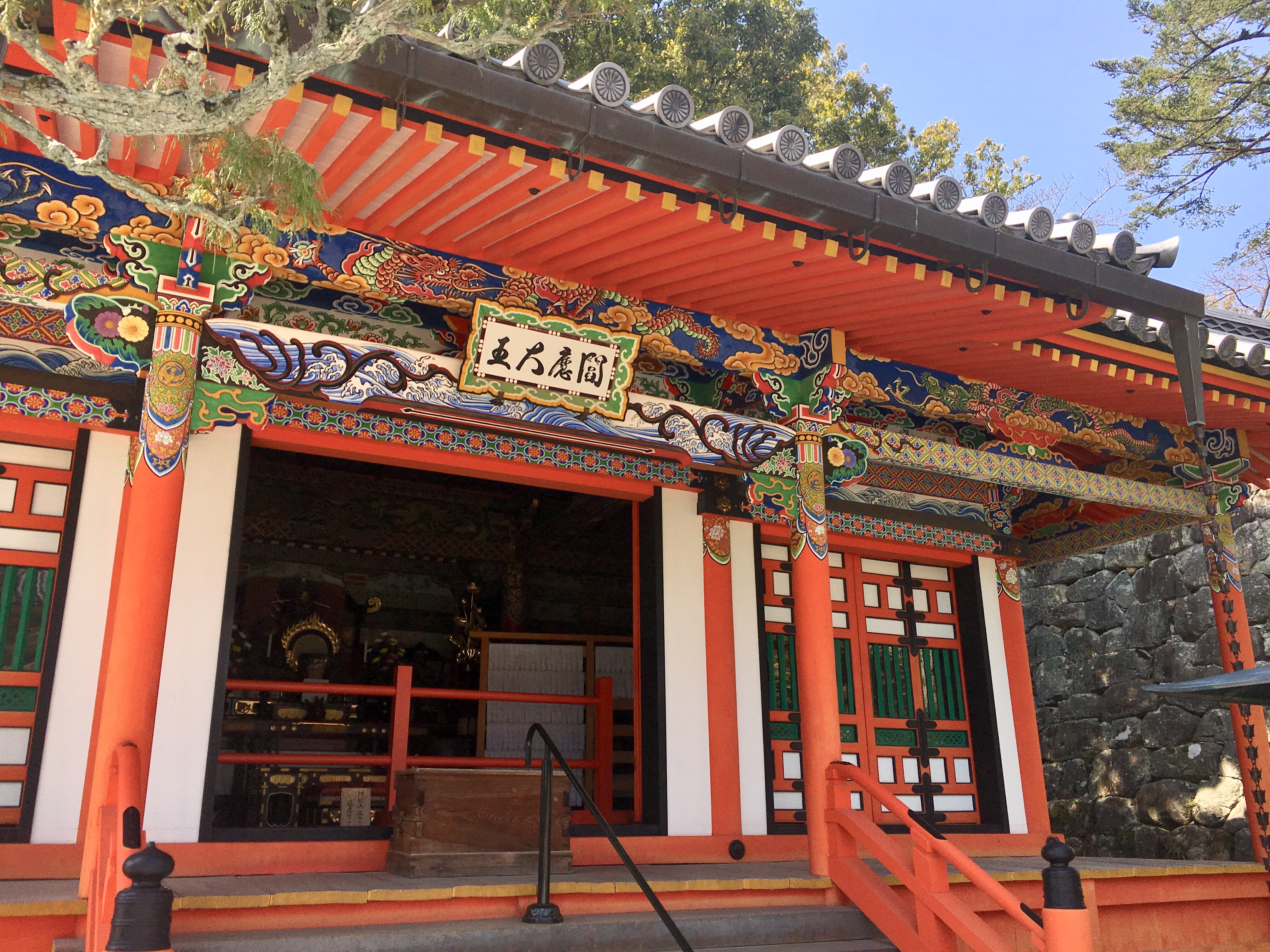 vermilion ema-do of Nakayama-dera covered in colorful paintings