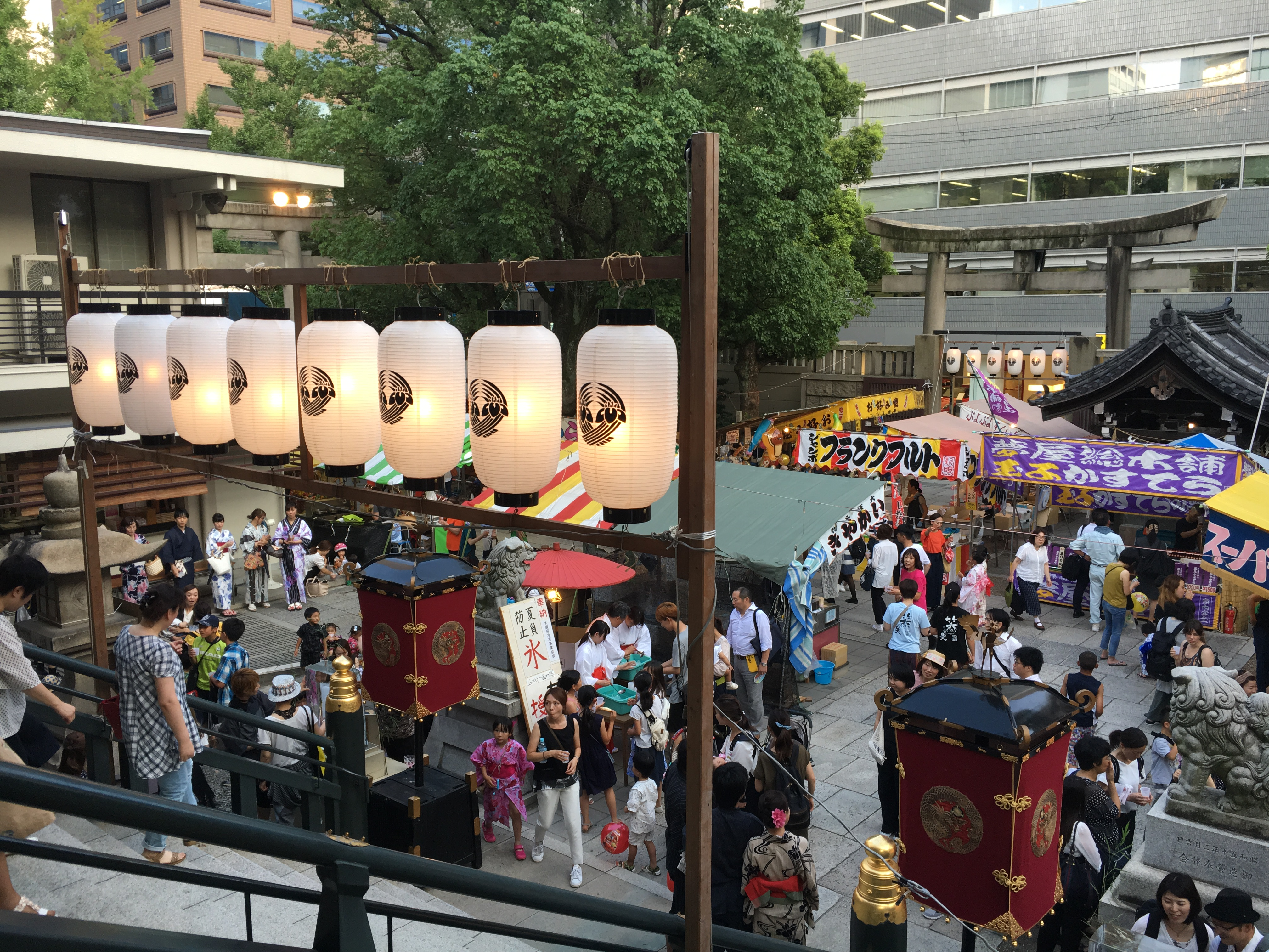 crowds of festival goers during Himuro Festival at Namba Shrine in Osaka