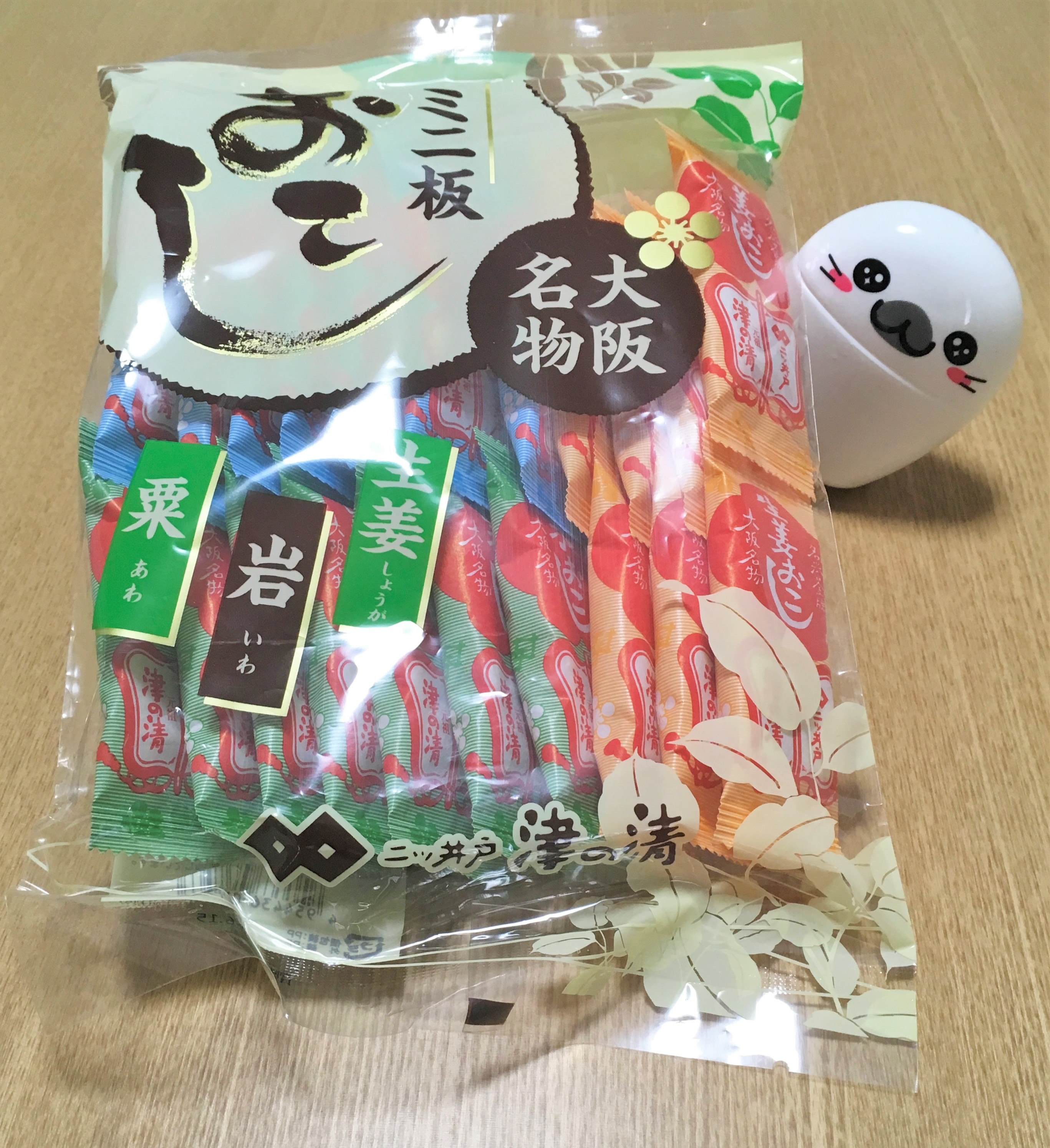 cellophane package of okoshi from Futatsuido Tsunose