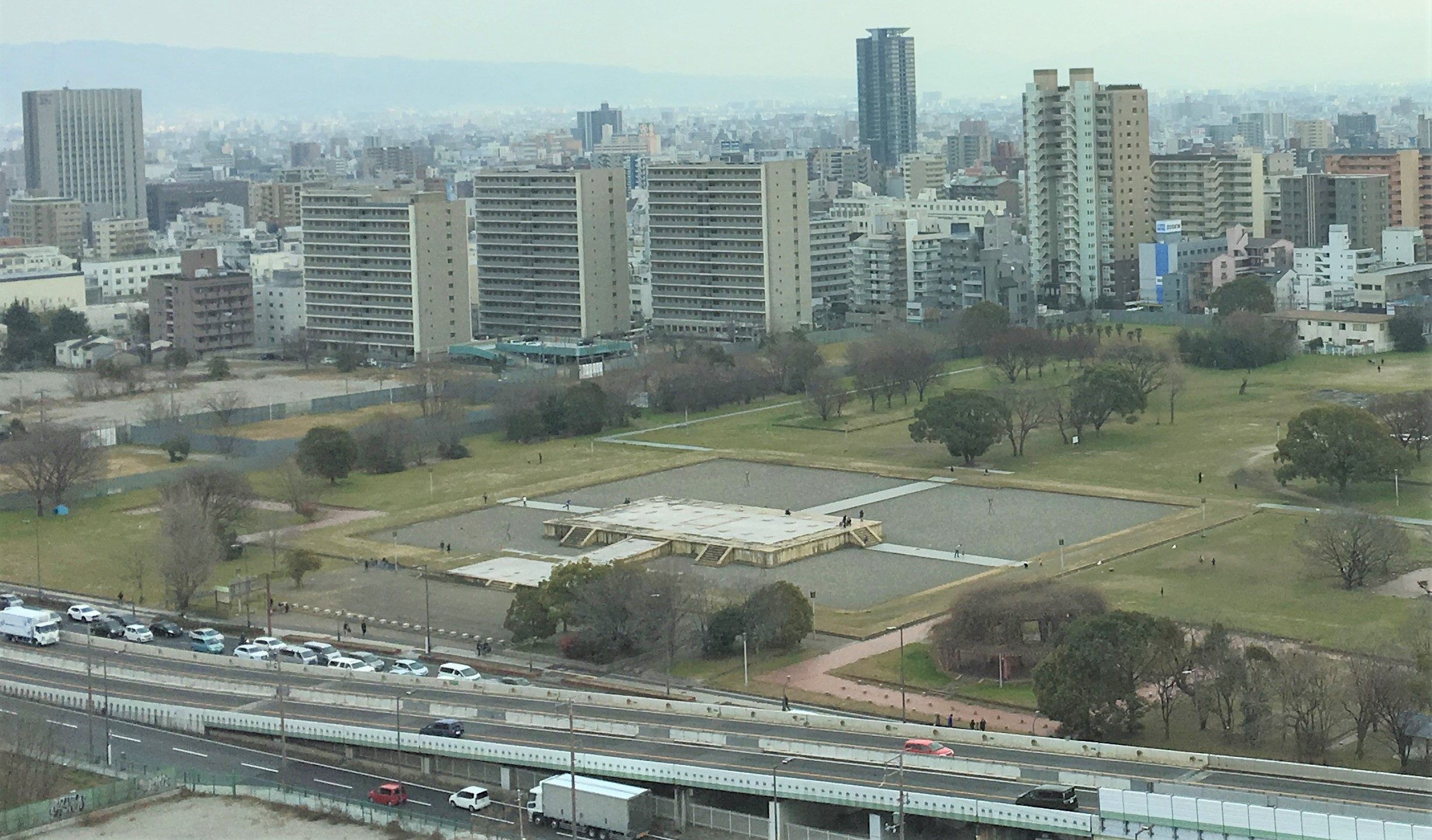 birds eye view of naniwanomiya park in Osaka