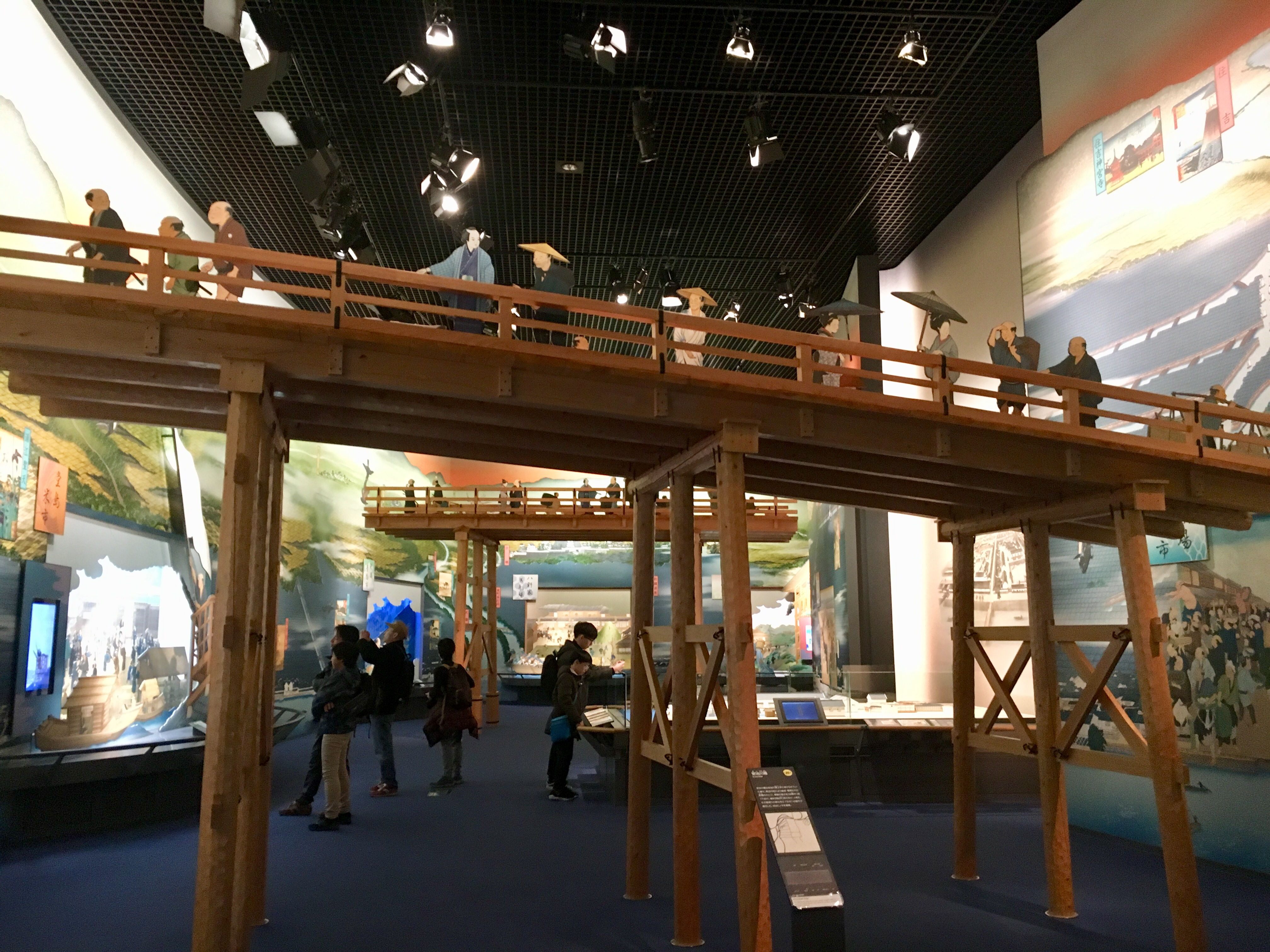 model bridge of one of Osaka many old bridges in the Osaka history museum