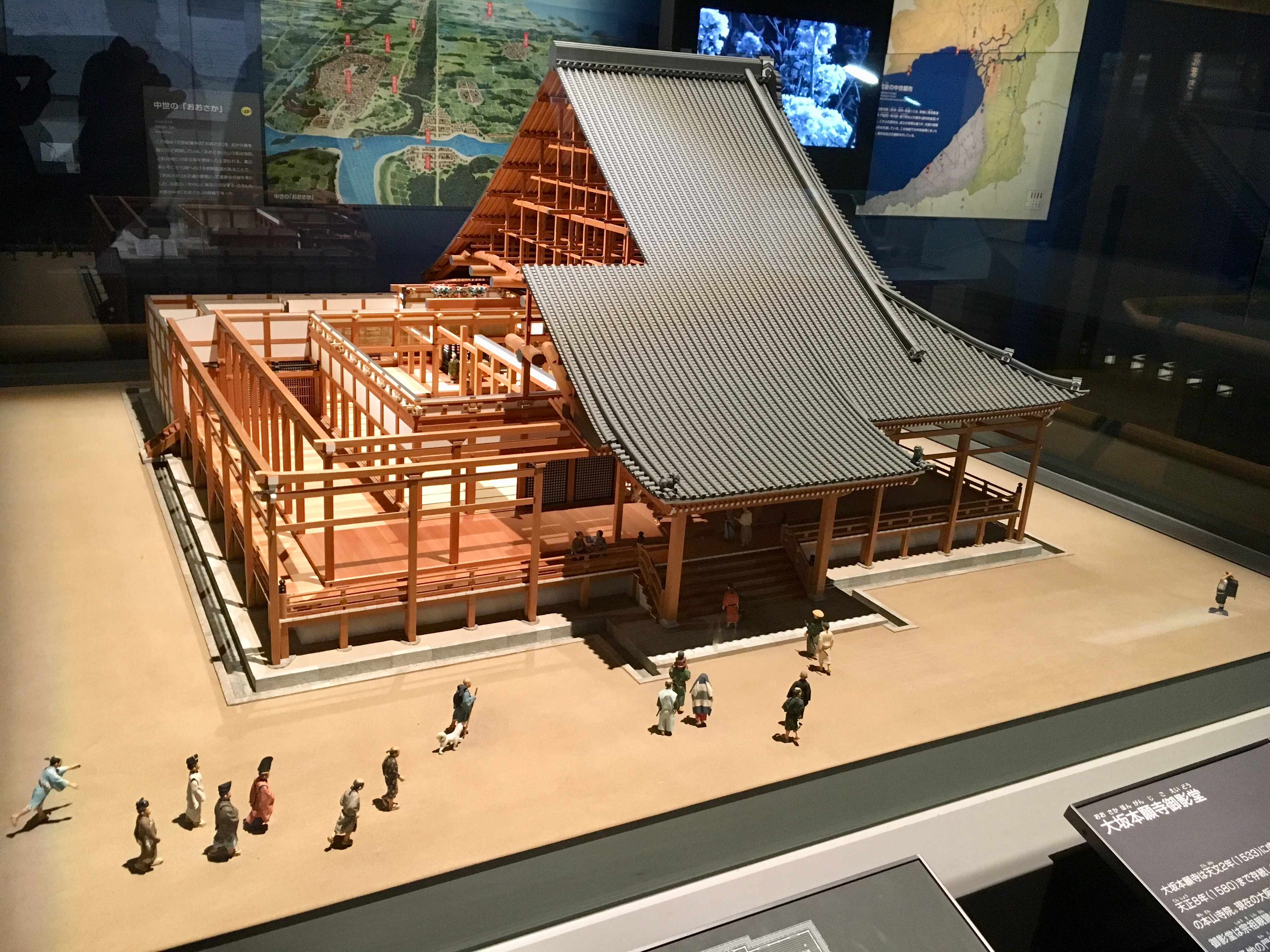 accurate scale model of the the Ishiyama hondan-ji temple in old Osaka