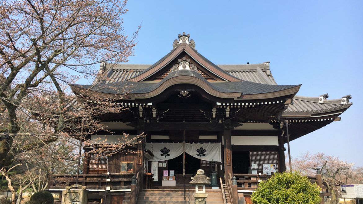 main hall of Tachibana-dera temple in early spring