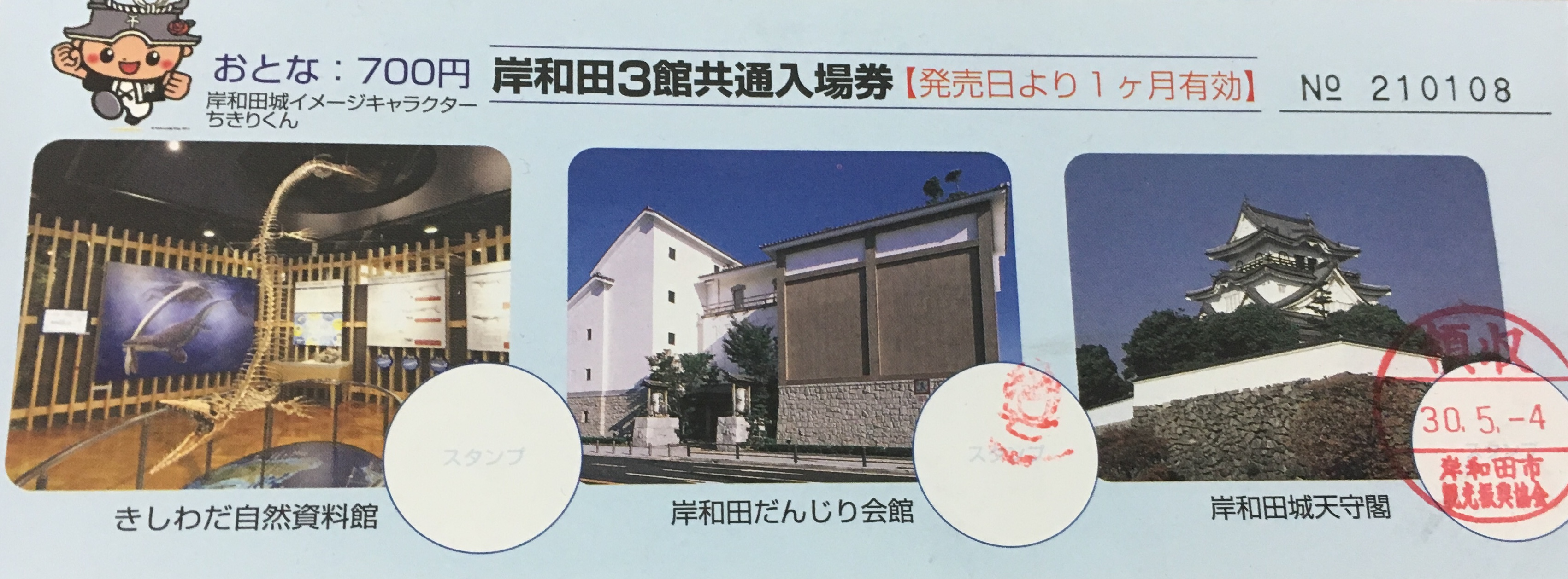 Combination ticket for kishiwada castle, the kishiwada danjiri museum and the kishiwada natural science museum