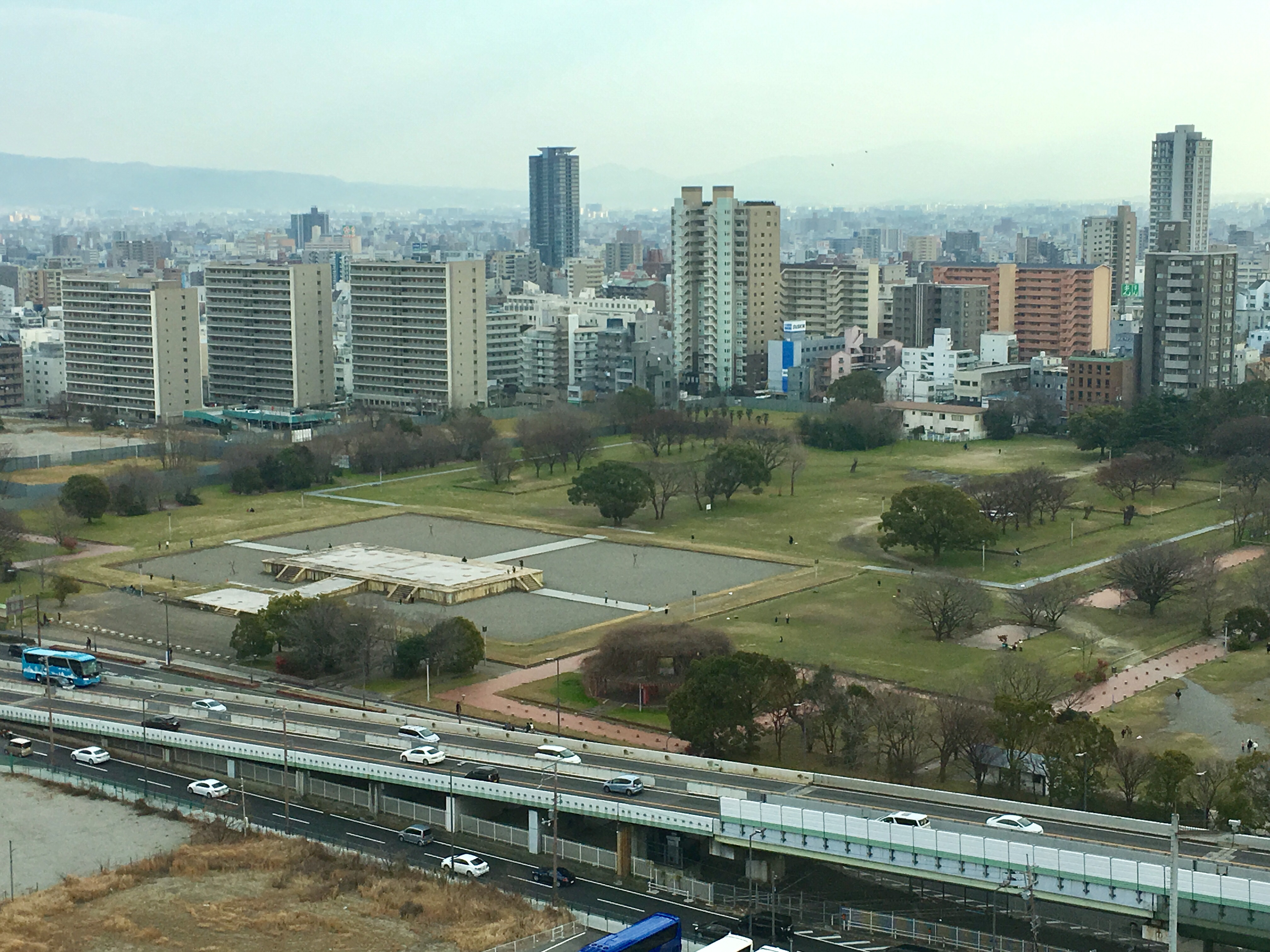 View of Naniwa Palace site from the 10th floor of the Osaka History Museum
