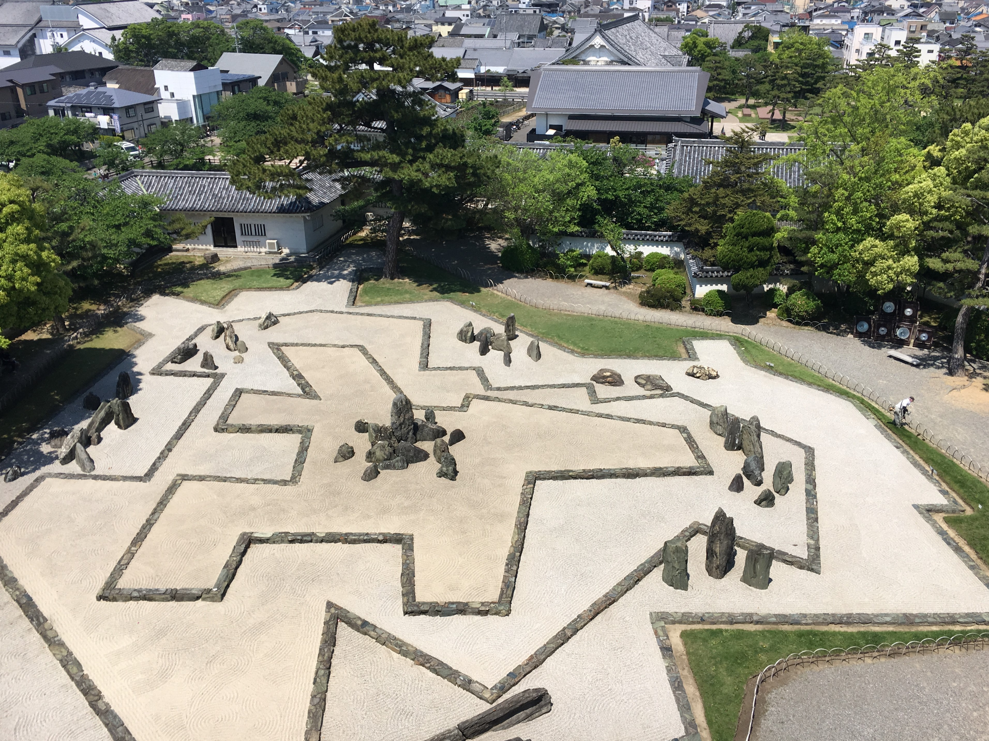 areal view of Hachijin no Niwa stone garden of kishiwada castle