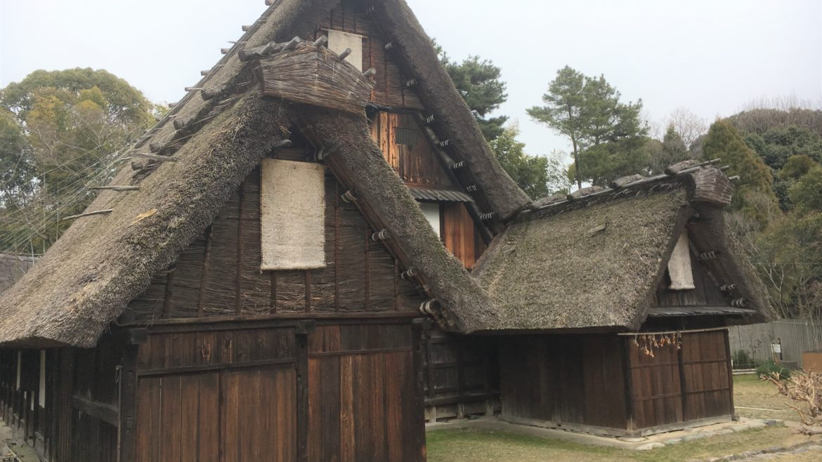 Gassho zukuri style Japanese farmhouse at the Open-air Museum of old Japanese farmhouses