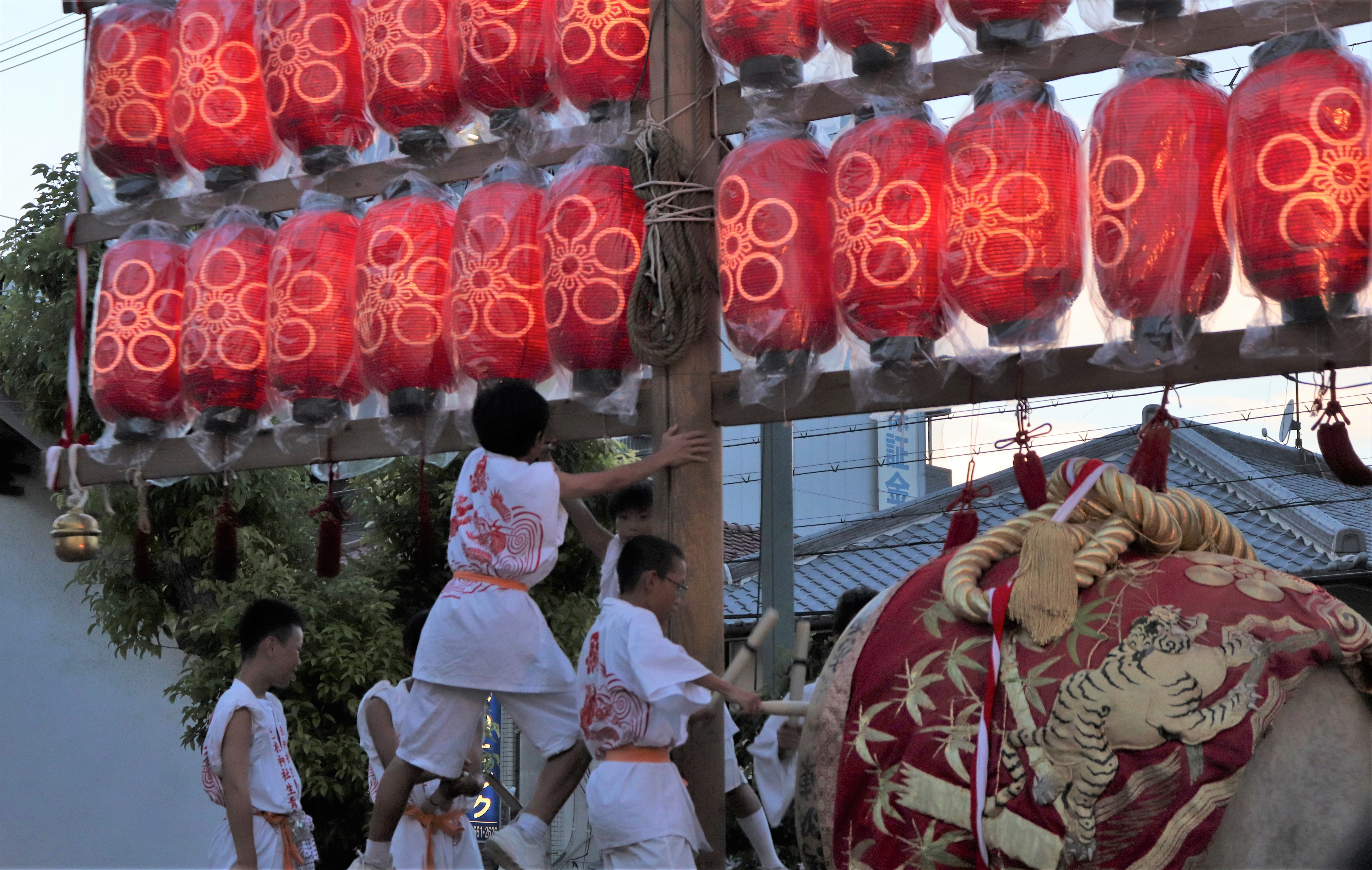 drum tied to the daigaku festival pole during daigaku festival in Osaka