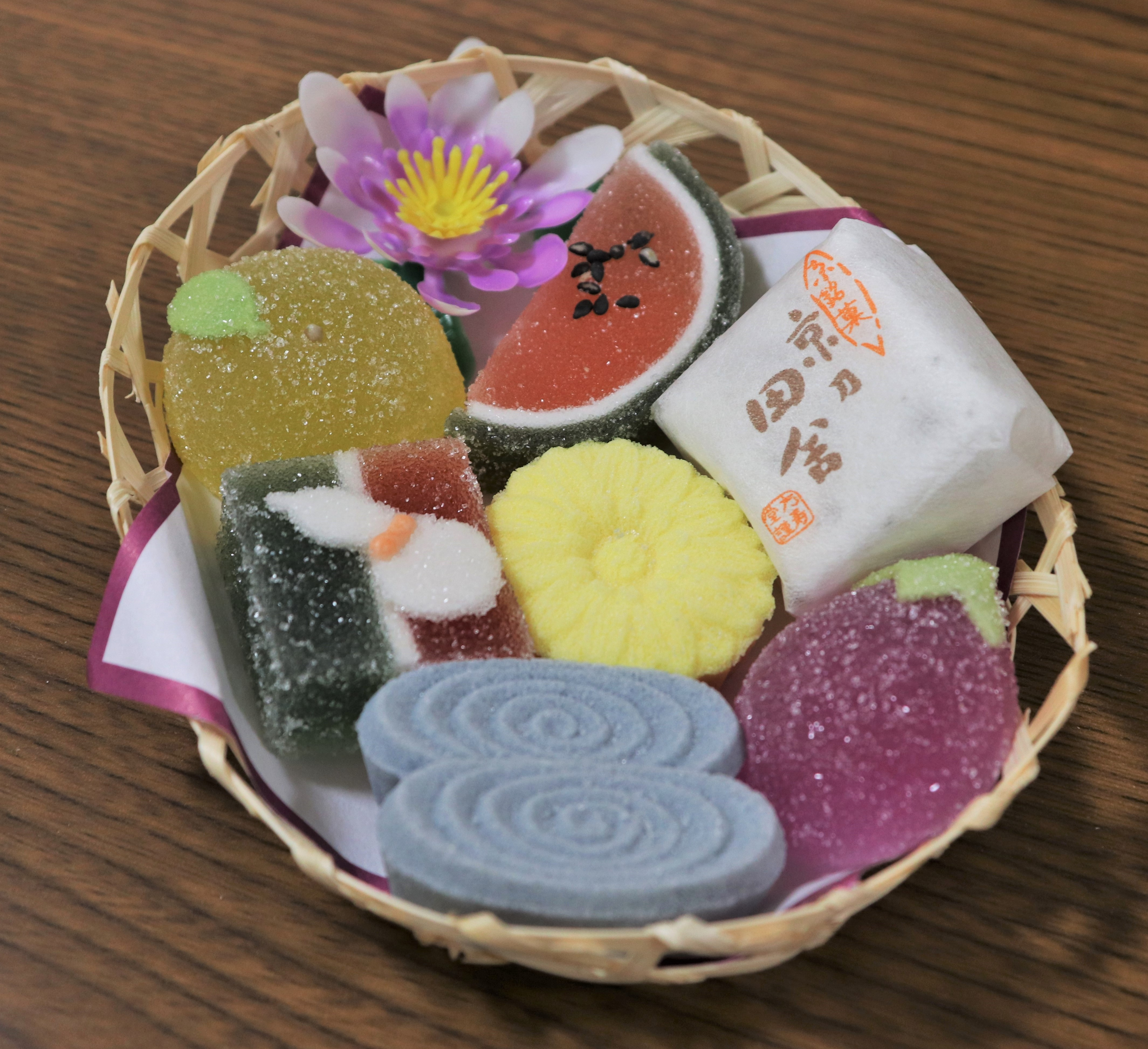 small bamboo basket of small candies shaped like various traditional obon foods
