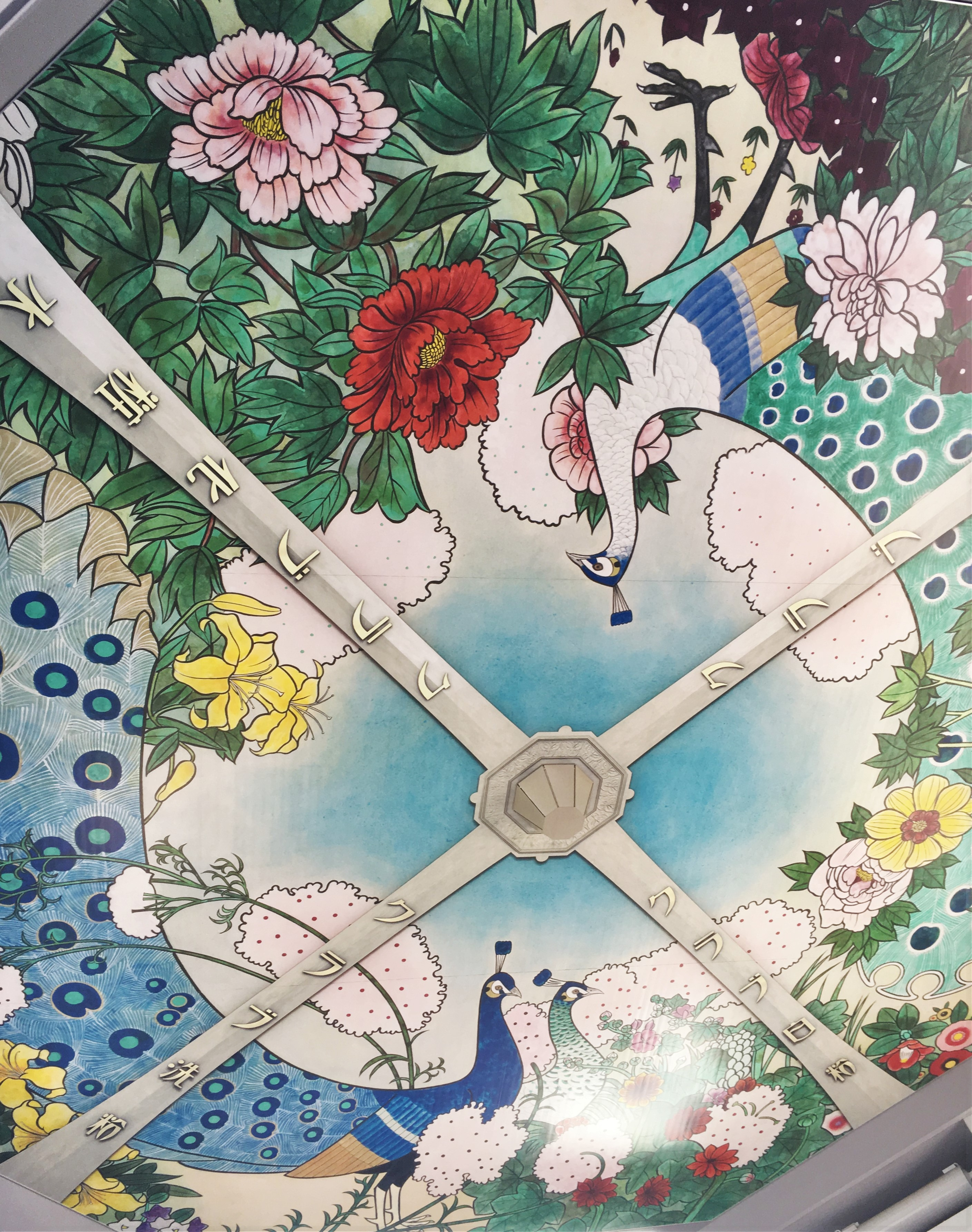 mural of flowers and peacocks on the bottom of the tsutenkaku tower