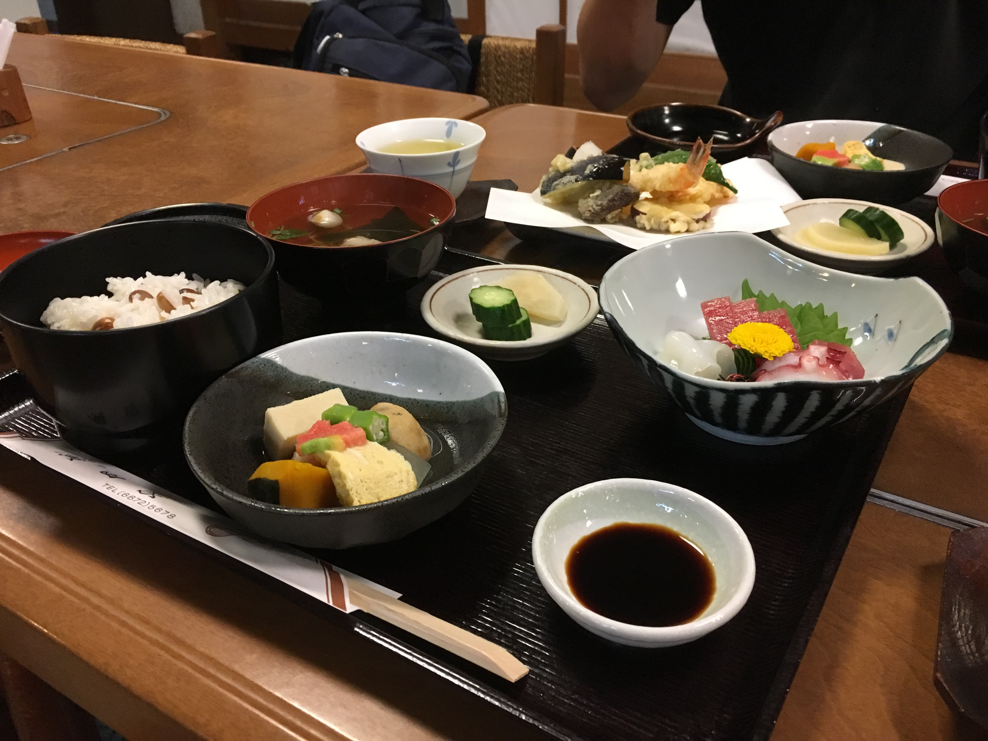 traditional Japanese lunch set with sashimi and bean rice at hirotaya