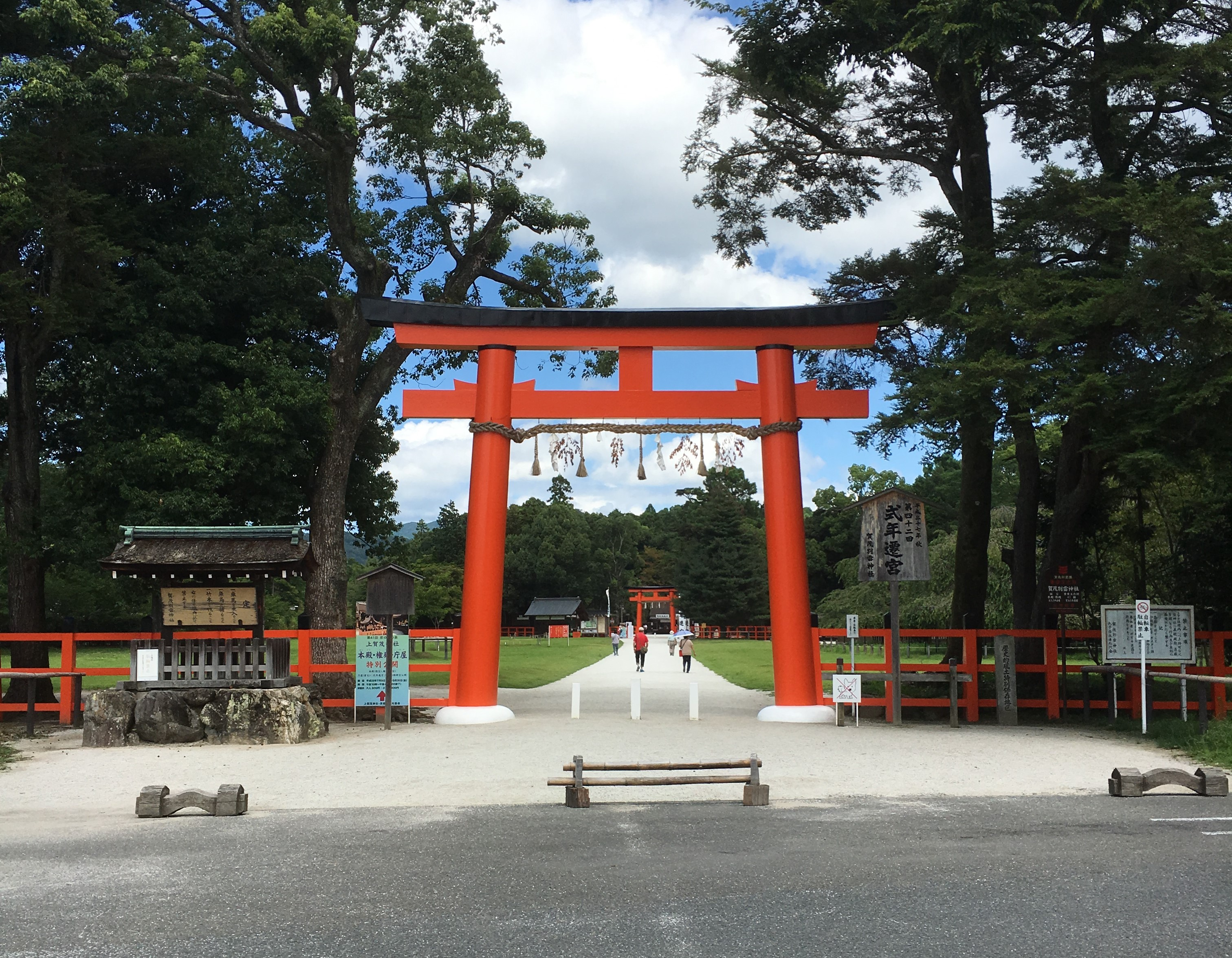 large vermilion torii of kamigamo shrine in kyoto
