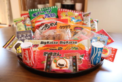 a platter of Japanese dagashi snacks