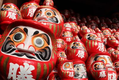 towering daruma dolls of all sizes at katsuo-ji temple