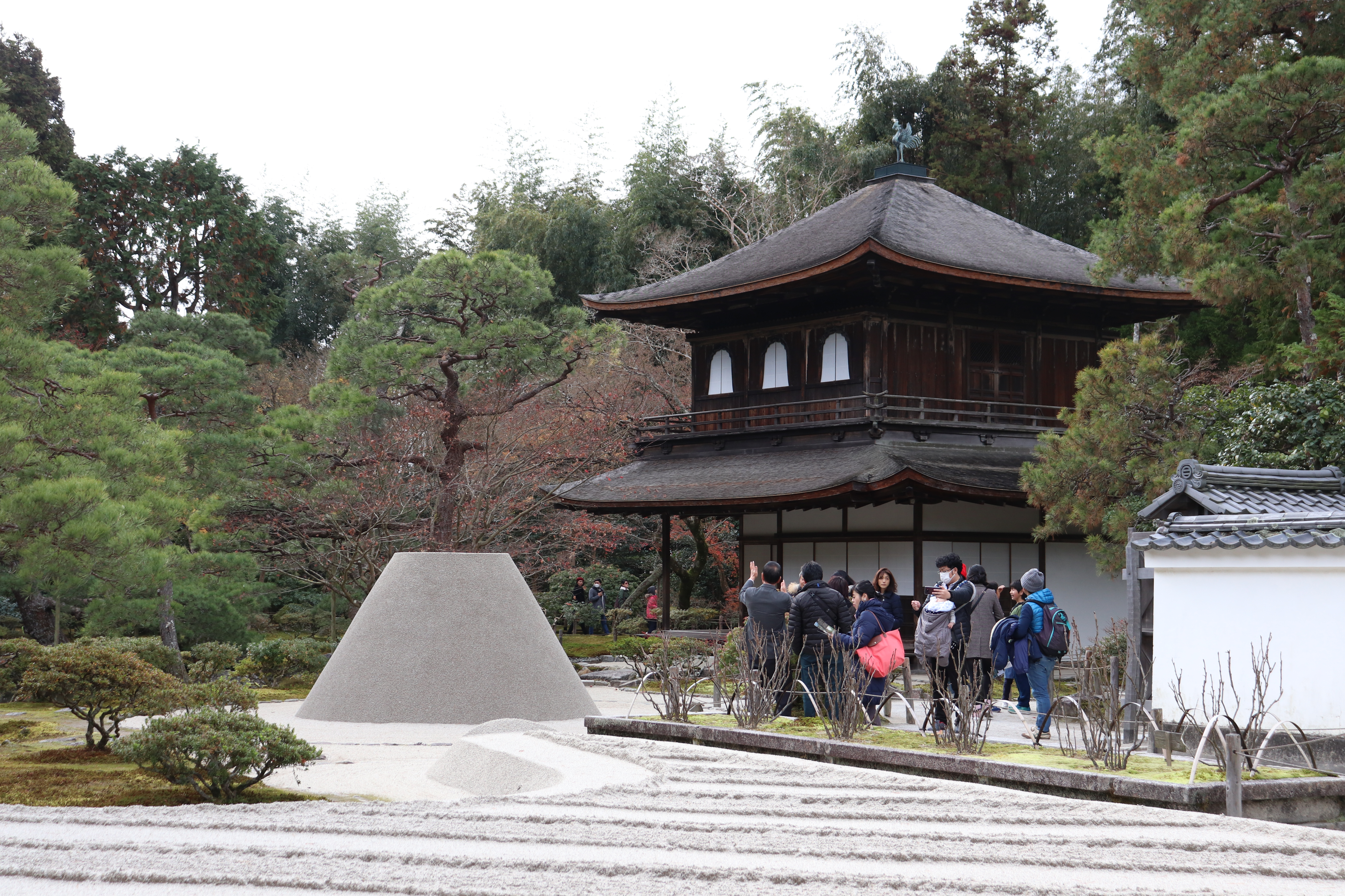 The ginkaku-ji with tourists and the famous rock garden in front