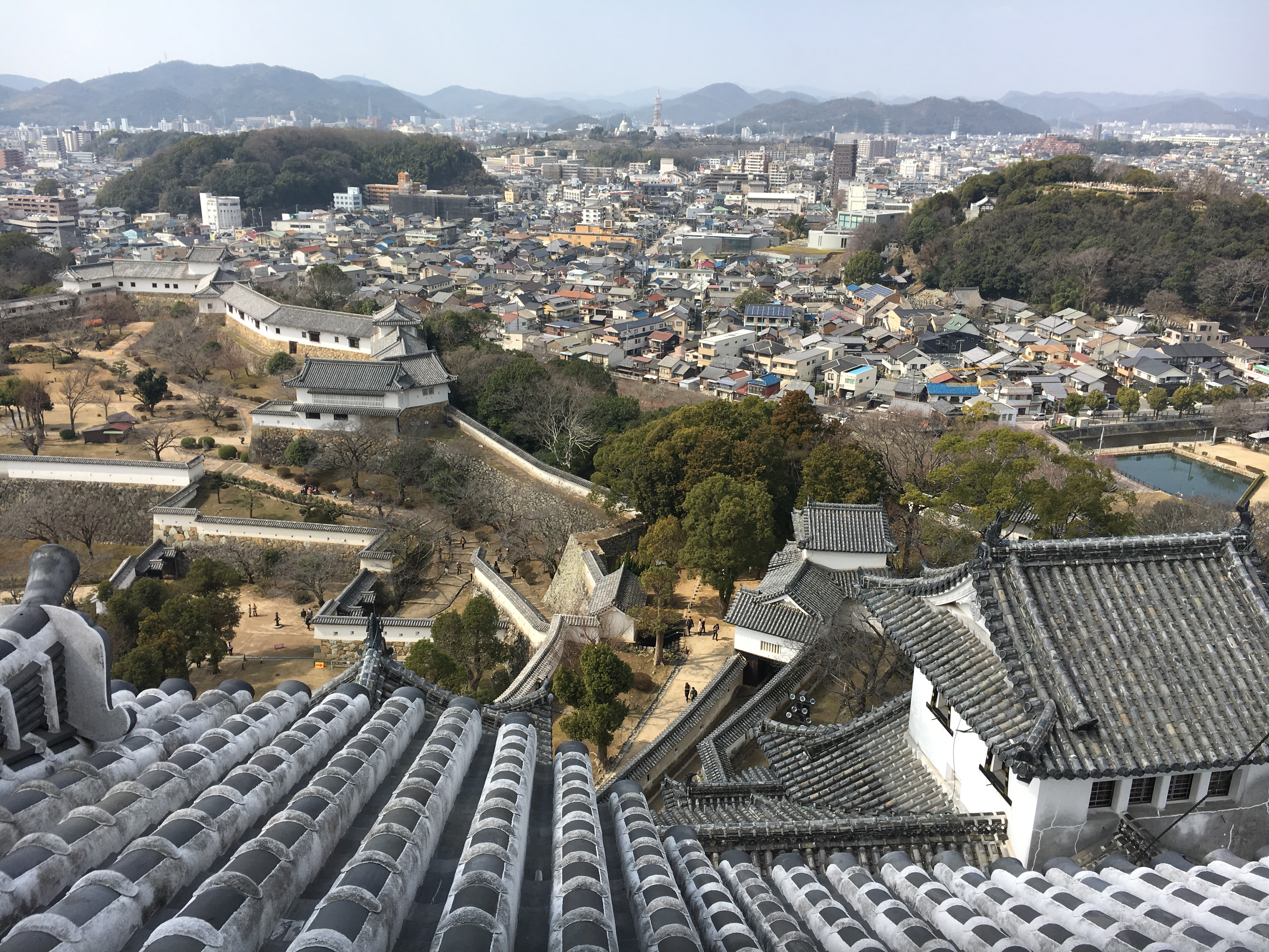 view of himeji city from himeji castle