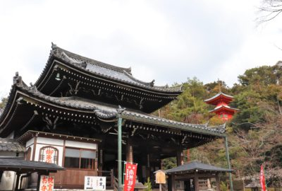 main prayer hall of Imakumano Kannon-ji with red pagoda on a hill in background