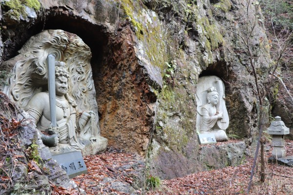 Religious Buddhist stone carvings along the Keihoku Course