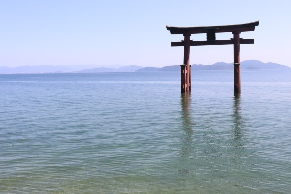 Torii of Shirahige Shrine on Lake Biwa