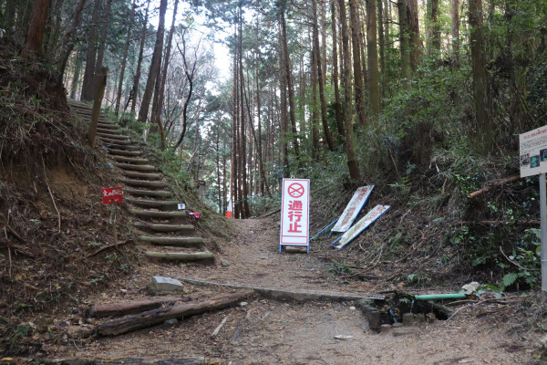 stairs leading to the top of Mt. Iwahashi on the Diamond Trail in Japan